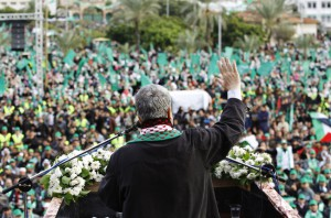 Hamas chief Meshaal gives a speech during a rally marking the 25th anniversary of the founding of Hamas, in Gaza City